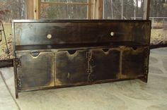 48 Inch wide SHABBY CHIC TV Cabinet Entertainment Center Heavily distressed Black over Mustard Primitive Wood Wooden Cottage Eclectic Art Deco Caribbean Beach house Mid Century Style for Plazma Big Screen T V Distressed Furniture, Recycled Furniture, Painted Furniture, Reclaimed Wood Tv Stand, Shabby Chic Cabinet, Wooden Screen Door, Tv Entertainment Centers, Tv Stand With Storage, Farmhouse Living Room Furniture