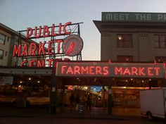 Pike Place Market in Seattle, WA--because Seattle.  Breakfast starts being served at 6 am and vendors start setting up around 9 am