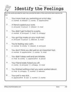 Look at each of the descriptions and identify the feeling in each scenario. Identify the Feelings Coping Skills Activities, Social Emotional Activities, Emotions Activities, Therapy Activities, Counseling Worksheets, Therapy Worksheets, Counseling Activities, How To Control Anger, School Social Work
