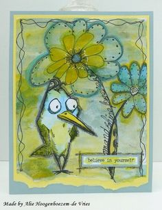 Alie Hoogenboezem-de Vries: Cards with Happy Crazy Birds Tim Holtz