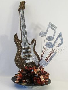 Guitar Centerpiece – Designs by Ginny Music Theme Birthday, Music Themed Parties, Music Party, 60th Birthday, Rockstar Party, Rockstar Birthday, Music Centerpieces, Party Centerpieces, Festa Rock Roll