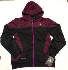 e1ab1616221eba New Jordan Therma Fit Full Zip Hooded Girls Youth Jacket Black Bordeaux size  Med