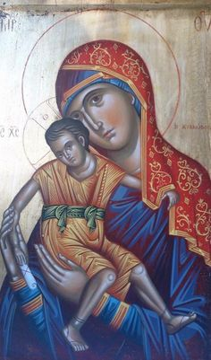 Theotokos Religious Images, Religious Icons, Religious Art, Byzantine Icons, Byzantine Art, Images Of Mary, Madonna And Child, Art Icon, Children Images