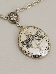 Silver Dragonfly Locket,Silver Locket,Locket,Silver Dragonfly Locket,Silver Chain,Locket Necklace,Wedding Necklace