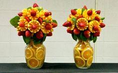 Orange & Strawberry Bouquets in Vases