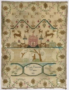 "British silk on wool canvas sampler dated 1811, and signed Marie Ransome Walton, 13.5""h x 10""w. Property of the Metropolitan Museum of Art, Sold to Benefit the Acquisitions Fund."