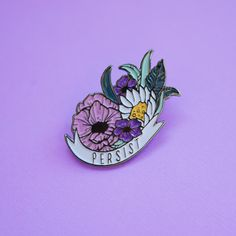 Persist Floral Enamel Pin, Resist Feminist Feminism Pin, Pin Flaire, Pin Collection, Pin Game, Women's Rights, Anti Trump by TeesAndTankYouShop on Etsy https://www.etsy.com/listing/505038620/persist-floral-enamel-pin-resist