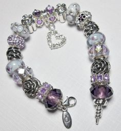"Authentic PANDORA Bracelet Designed with European Beads and Charms ""Purple Passion"" www.pandoratoyou.com"