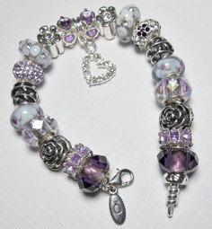 "Authentic PANDORA Bracelet Designed with European Beads and Charms ""Purple Passion"" www.pandoratoyou.com"