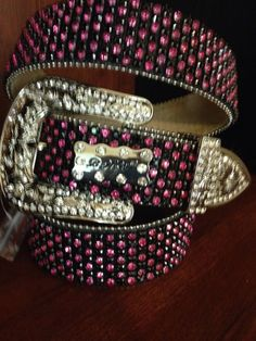 BHW Crystal Rhinestone Bling Western Belt Leather Cowgirl Xl Pink Black #BHW