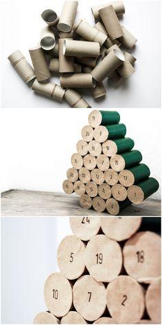 DIY Upcycling Advent calendar made of bog rolls | DIY Adventskalender aus Klopapierrollen