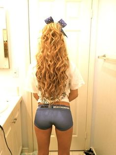 Long Blonde Curly Hair With Bow
