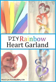 Beautiful paper heart garland craft #heartcrafts #rainbowcrafts #kidscrafts