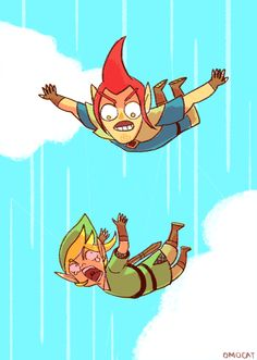 Falling (Skyward Sword)....This whole scene was pretty much my favorite part of the game.