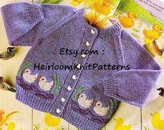 Baby Cardigans Sweater Vintage Knitting Pattern DK 4Ply | Etsy Kids Knitting Patterns, Baby Cardigan Knitting Pattern, Knitted Baby Cardigan, Knit Baby Sweaters, Knitted Baby Clothes, Knitting Wool, Knitting For Kids, Vintage Knitting, Double Knitting