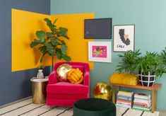 Pattern Adventures: A Color-Blocked Corner. / via Oh Joy! Home Decor Bedroom, Living Room Decor, Retro Living Rooms, Bedroom Wall Designs, Room Colors, Colorful Interiors, Home Interior Design, Interior Inspiration, Wall Decor