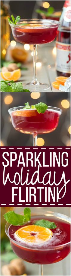 This SPARKLING HOLIDAY FLIRTINI is fun, pretty, and delicious! Cranberry and pineapple juice mixed with orange vodka and topped with sparkling wine.
