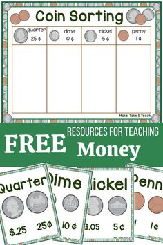 Sorting activities are the perfect first step in teaching money skills. Use this coin sorting freebie to help children identify the coins. Kindergarten Readiness, Homeschool Kindergarten, Preschool Learning, Kindergarten Worksheets, Teaching Math, Homeschooling, Math For Kids, Fun Math, Math Math
