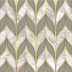 Bellechasse / Odyssée Collection featured in natural stone (Pacifica Blue), Venetian Glass and brushed brass by Mosaique Surface Floor Patterns, Tile Patterns, Textures Patterns, Floor Design, Tile Design, House Design, Molduras Vintage, Art Deco, Tiles Texture