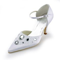 """Style No.B130012,Dyeable Charming 3"""" Glitter Rhinestones Pointy Toe D'Orsay - White Satin Wedding Shoes (11 colors),"""