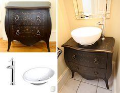 diy dresser to sink vanity Dresser Vanity Bathroom, Diy Vanity, Vanity Sink, Bathroom Furniture, Bathroom Cabinets, Repurposed Furniture, Diy Furniture, Furniture Repair, Bathroom Renos