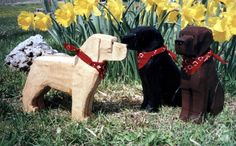 Labrador Retriever in Chocolate, Black and Yellow - Gifts for Lab Lovers - Lab Breed in Chainsaw Folk Art