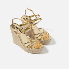 Image 5 of METALLIC STRAPPY WEDGES from Zara