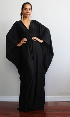 Black Maxi Dress Kaftan Kimono Butterfly Dress Elegant by Nuichan on Etsy