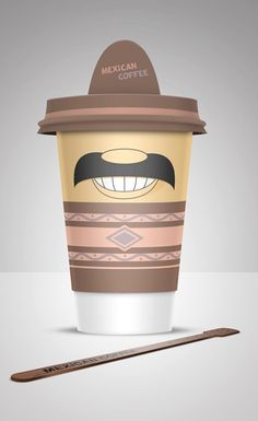 Coffee Cups.  I like the color scheme and how it's a Mexican for a Mexican coffee. The smile seems to be as satisfied as the consumer drinking the coffee!