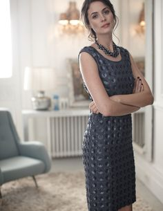 Metallic shift dress + statement necklace