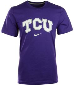 Comfort and style combine to make this Nike NCAA Wordmark t-shirt your favorite piece of Texas Christian Horned Frogs gear. Banded taping at the collar helps the shirt retain its shape through many washings. Crew neckline with interior taping Pullover style Short sleeves Screen print team wordmark at front Nike swoosh logo at front Standard fit Tagless Polyester Machine washable