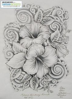 half sleeve tattoos for women black and grey hibiscus - Google Search
