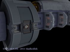 Here she is the cargo ship U.S.S. MUGHI. I do not rightly remember what it was that got me interested in doing this ship. But it allowed me to have a ship that I could conceivably use in early TNG …