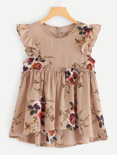 SheIn offers Frill Trim Floral Print Dip Hem Top & more to fit your fashionable needs. Blouse Styles, Blouse Designs, Kids Outfits, Cute Outfits, Womens Trendy Tops, Baby Girl Dresses, Toddler Dress, Pullover, Dress Patterns