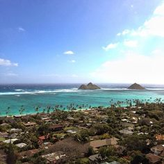 """Ahh, Lanikai. Windward side of Oahu. Looking out at the """"Moke Islands"""" from the pillbox hike. Moku Nui on the left and Moku Iki on the right. Have a fantastic night friends! Lanikai, Hawaii • ♒ — photo taken by me_lv"""