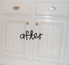 redo your cabinets with beadboard tutorial.  I really want to do this but different color and hardware