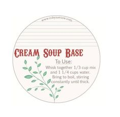Dry Cream Soup Base  2 cups Granulated Milk 2/3 cup Corn Starch 1 tablespoon Salt 1 teaspoon Pepper 2 tablespoons Parsley ½ teaspoon Thyme