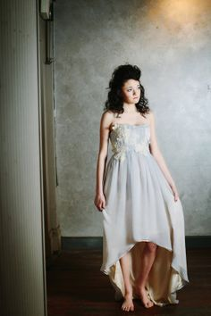 Blue Wedding Dress in Sky Blue and Ecru Silk Chiffon with Alencon Lace and High-Low Skirt - Non Traditional Wedding Dress - Aster Gown