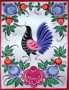 Folk Gorodets painting from Russia. Floral pattern with a pheasant. Tole Painting, Ceramic Painting, Painting Tips, Watercolor Painting, Russian Folk Art, Scandinavian Folk Art, Russian Painting, Truck Art, Naive Art