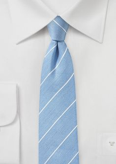 Powder Blue Skinny Linen Tie with Stripes - When the sun shines bright in a cloudless sky, you ll want a tie that evokes the summer season. That s where this beautiful powder Peach Tie, Dress Outfits, Dress Clothes, Style Lounge, Sunny Days, Kentucky, Light Blue, Powder, Stripes