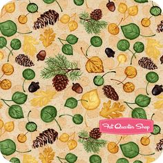 Summer Lodge Ivory Leaves and Acorns Yardage SKU# 38751-157S