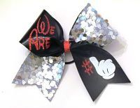 This bow is made with metallic spandex and sequin ribbon accented with glitter. Each bow measures 7 inches and is attached to a pony-o. Send us a message, and well create a special listing just for you Disney Bows, Disney Mickey, Kids Cheering, Mickey Hands, Pony O, Little Diva, Boutique Hair Bows, Cheer Bows, Cheerleading
