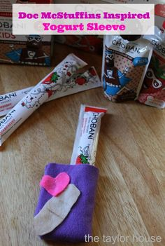 Kids Activities: Doc McStuffins Inspired Yogurt Sleeve The Taylor House Disney Diy, Disney Crafts, Fun Crafts, Diy And Crafts, Amazing Crafts, Diy Holiday Gifts, Diy Gifts, Doc Mcstuffins, Do It Yourself Projects