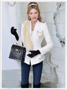 Morpheus Boutique  - White Trendy Hair Collar Wool Jacket Coat