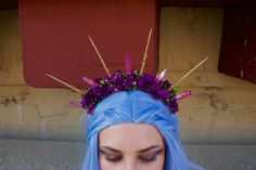Cotton Candy Goddess Halo - [Gold and Pink Crystal Purple Flower Crown / Headband] by JUDYandMADELEINE on Etsy https://www.etsy.com/listing/400994915/cotton-candy-goddess-halo-gold-and-pink