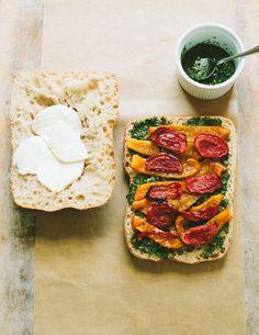 pressed roasted vegetable sandwich