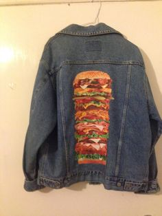 Burger Baby , up-cycled one off Jacket only one in the world !  Perfect for festivals or just looking fabulous!  Iron on transfer silicon paper finish for water resistance + sequins and gems (sparkly !) Shipping: UK : First class EU+ WORLDWIDE: internationally tracked  ♡ ♡ ♡ Follow our Facebook: www.facebook.com/2POINT5D and Instagram :2.5D.insta ♡ ♡ ♡