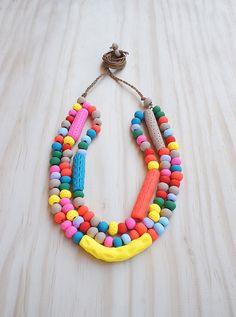 Three Tier Adjustable Necklace of Handmade Beads - Fruit on Etsy, $91.67