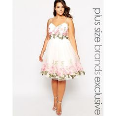 Chi Chi London Plus Floral Embroidered Prom Dress ($134) ❤ liked on Polyvore