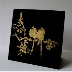 handmade card for FS492 ... Golden Birds by Anne Ryan  ... black textured paper ... gold embossed birds on a branch ... elegant  Asian look ...